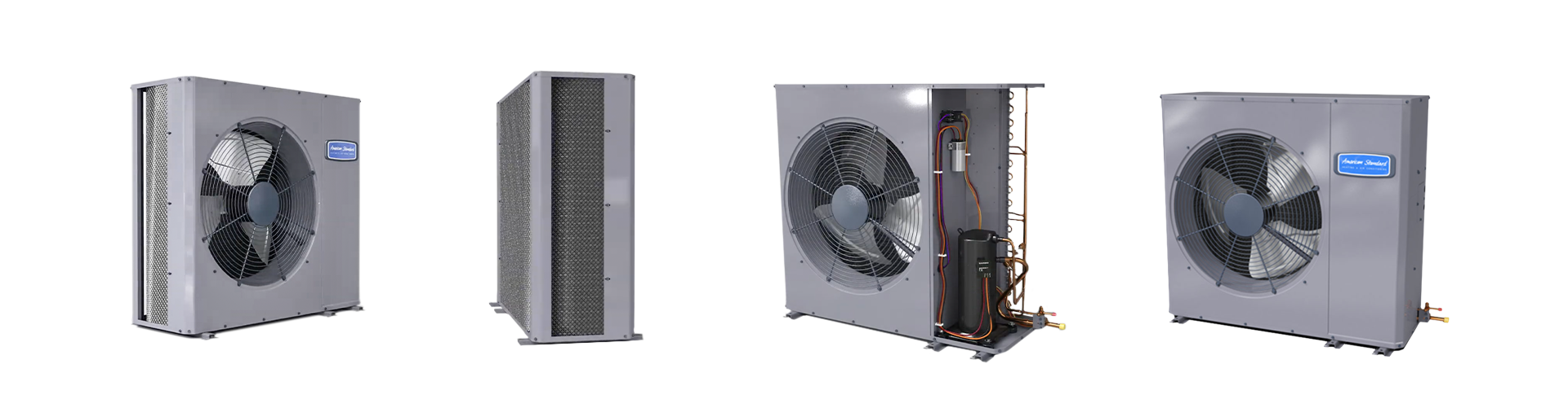 4 photos of slim line AC units rotated to different views