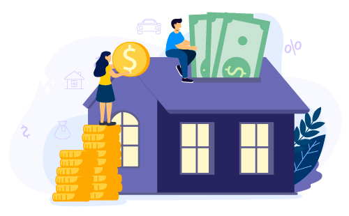illustration of people putting bills and coins into house like a piggy bank, financing it